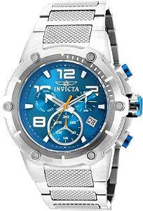 Relógio Invicta 19527 Speedway 51.5mm Banho Prata Mostrador Azul Cronógrafo Movimento Suíço