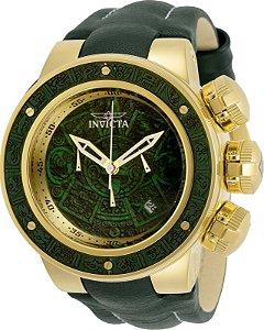 Relogio Invicta 28245 Subaqua Azteca 52mm Banho Ouro 18k Mostrador Verde Cronógrafo
