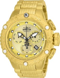 Relógio Invicta 26648 Subaqua 51mm Banho Ouro 18k Mostrador Dourado Movimento Suíço