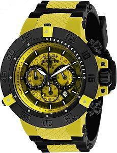 Relógio Invicta 0934 Subaqua 50mm Fundo Amarelo Cronógrafo