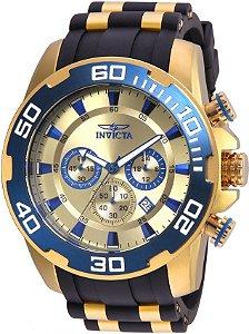 Relógio Invicta 22343 Pro Diver 50mm Banho Ouro 18k Fundo Dourado Cronógrafo