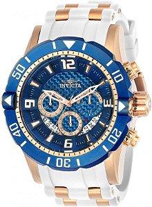 Relógio Invicta 23709 Pro Diver 50mm Banho Ouro Rosê Fundo Azul Cronógrafo