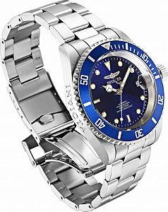 Relógio Invicta 9094ob Pro Diver Automático 40mm Banho Prata Fundo Azul