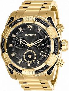 Relógio Invicta 26991 Bolt Banho Ouro 18k Fundo Preto 51mm Movimento Suíço