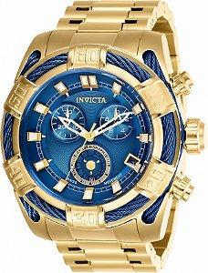 Relógio Invicta 26993 Bolt Banho Ouro 18k Fundo Azul 51mm Movimento Suíço