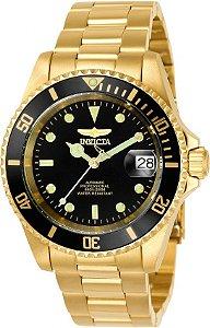 Relógio Invicta 8929OB Pro Diver 40mm Banho Ouro 18K fundo Preto Automático