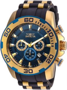 Relógio Invicta 22341 Pro Diver 50mm Banho Ouro Fundo Azul Pulseira em Silicone