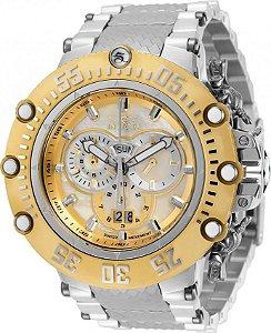 Relógio Invicta 32120 Subaqua Noma 7 Banho Prata e Ouro Movimento Suíço