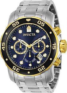 Relógio Invicta 80041 Pro Diver Banho Prata e Ouro Fundo Azul Cronógrafo