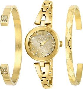Relógio Invicta Angel 29331 Feminino Banho Ouro Caixa 28mm com Dois Braceletes