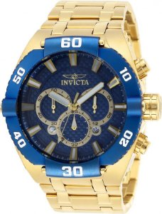 Relógio Invicta Coalition Forces 27258 Banho Ouro 18k Fundo Azul Cronógrafo