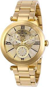 Relógio Invicta Angel 28926 Banho Ouro 36mm Calendário Duplo