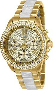 Relógio Invicta Angel 20511 Fundo Dourado com Pedras Tipo Cristais 38mm