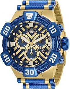 Relógio Invicta Bolt 32283 Banho Ouro 18k Fundo Azul Suíço 52mm Cronógrafo
