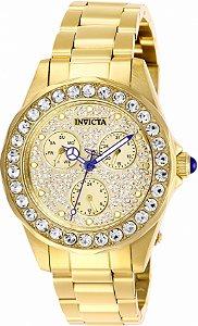 Relógio Invicta Angel 28461 Banho Ouro Cristais Crivados Feminino