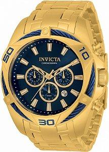 Relógio Invicta Bolt 34120 Banho Ouro Mostrador Azul