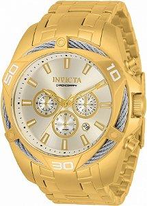 Relógio Invicta Bolt 34121 Banho Ouro Mostrador Prata