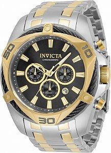 Relógio Invicta Bolt 34127 Banho Prata e Ouro Mostrador Preto