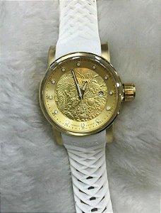 Relogio Invicta Yakuza automatico dourado pulseira em borracha branca