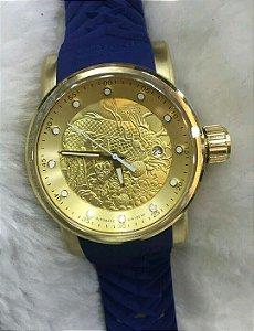 Relogio Invicta Yakuza automatico dourado com pulseira em borracha azul