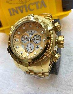 Relogio Invicta Zeus Bolt dourado com mostrador em branco e pulseira em aço