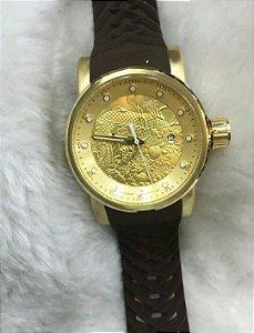 Relógio Invicta Yakuza automatico dourado pulseira em borracha marrom