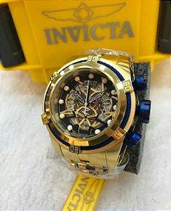 Relogio Invicta Zeus Bolt dourado com Eskeleton e detalhes em azul TOP