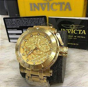Relogio Invicta Coalition Forces automático dourado com pulseira em aço