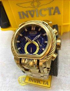 Relogio Invicta modelo Magnum TOP dourado com mostrador em azul