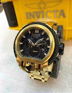 Relogio Invicta modelo Magnum TOP dourado com o mostrador e detalhes em preto