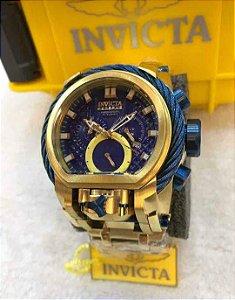 Relogio Invicta modelo Magnum TOP dourado com o mostrador e detalhes em azul