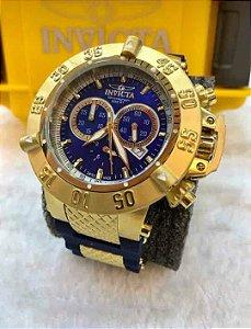 Relogio Invicta subaqua noma 3 dourado com mostrador em azul e pulseira em borracha