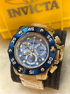 Relogio Invicta modelo New Seahunter dourado com detalhes em azul
