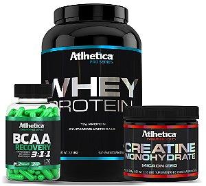 Combo Atlhetica: Whey Pro Series 1kg + BCAA Recovery 3:1:1 de 120 Cáps. + Creatine Monohydrate 300g