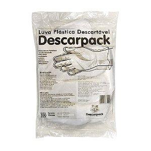 Luva Plástica Não Estéril Descartável Pacote com 100 Unidades