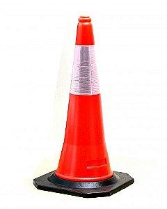 Cone Laranja com Refletivo Base Preta de borracha 75cm