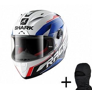 Capacete Moto Shark Race-R Pro Sauer WBR Branco Azul Vermelh