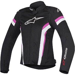 Jaqueta Moto Feminina Alpinestars T-Jaws V2 Preta Rosa Verão