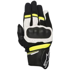 Luva Moto Alpinestars Booster Preta Branca Amarela
