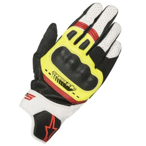 Luva Moto Alpinestars SP-5 Preta Branca Amarela Vermelha