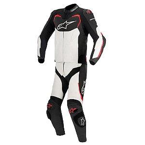Macacão Moto Alpinestars GP Pro Preto Branco Vermelho 2 Pçs