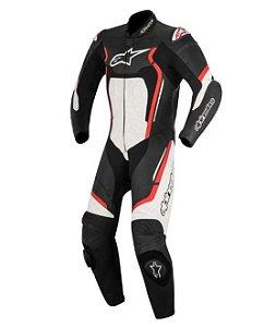 Macacão Moto Alpinestars Motegi V2 Preto Branco Vermelho