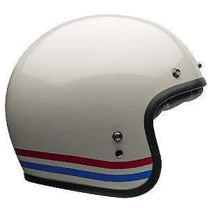 Capacete Moto Bell Custom 500 Stripes Branco Pérola