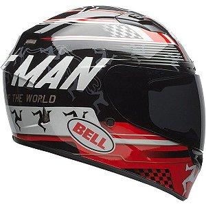 Capacete Moto Bell Qualifier DLX Isle of Man Preto Vermelho