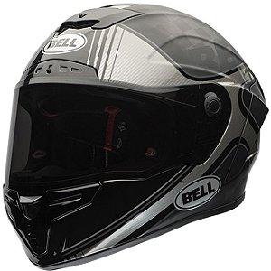 Capacete Moto Bell Pro Star Tracer Preto Prata