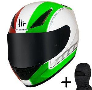 Capacete Moto MT Revenge Binomy Branco Vermelho Verde