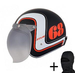 Capacete Moto Zeus 380H Preto Fosco K36 Laranja