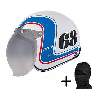 Capacete Moto Zeus 380H Branco Fosco K36 Azul