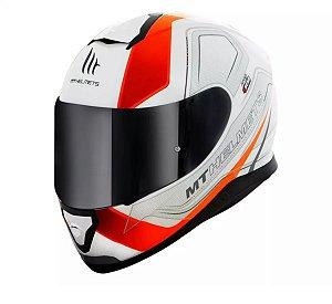 Capacete Moto MT Thunder 3 Trace Branco Laranja