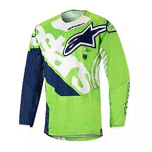 Camisa Alpinestars Techstar Venon 18 Verde Branca Azul